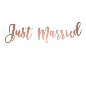 Baner Just Married, różowe...